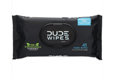 DUDE Wipes Flushable Wet Wipes Dispenser (3 Packs 48 Wipes), Unscented Wet Wipes